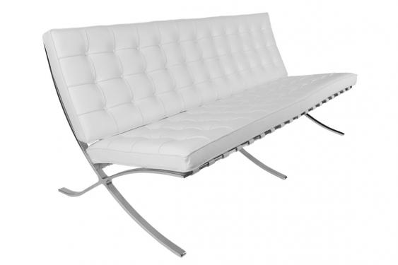 Sofa BA3 3 osobowa, biała skóra naturalna