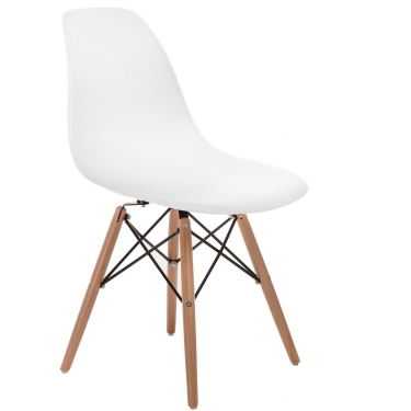 Krzesło P016W PP białe, drewniane nogi