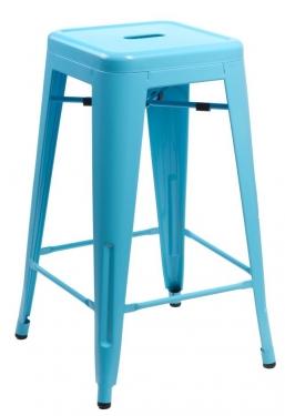 Stołek barowy Paris 66cm niebieski inspirowany Tolix