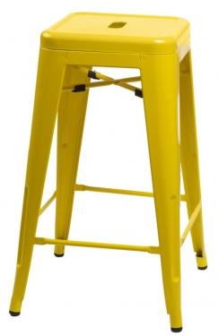 Stołek barowy Paris 66cm żółty inspirowany Tolix