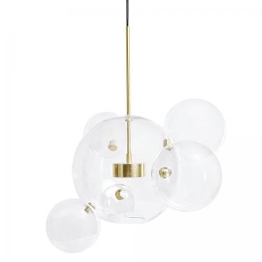 Lampa wisząca CAPRI 6 złota - 60 LED, aluminium, szkło