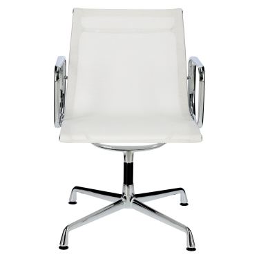 Fotel konf. CH1081T,biała siateczka,chro m