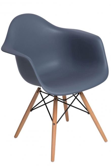 Krzesło P018W PP dark grey, drewniane nogi