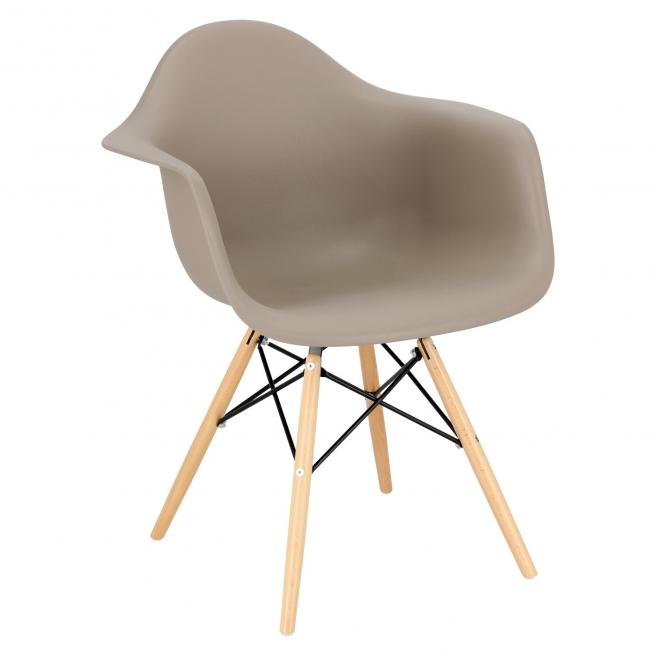 Krzesło P018W PP mild grey, drewniane nogi
