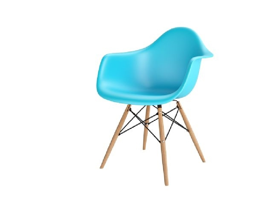 Krzesło P018W PP ocean blue, drewniane nogi HF