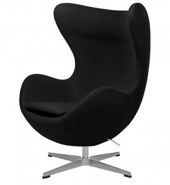 Fotel EGG CLASSIC czarny.30 - wełna, podstawa aluminiowa