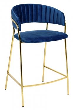 Hoker MARGO 65 ciemny niebieski - welur, podstawa złota