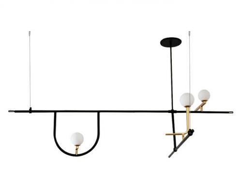 Lampa wisząca TWEETY 160 czarno-złota - metal, aluminium, szkło