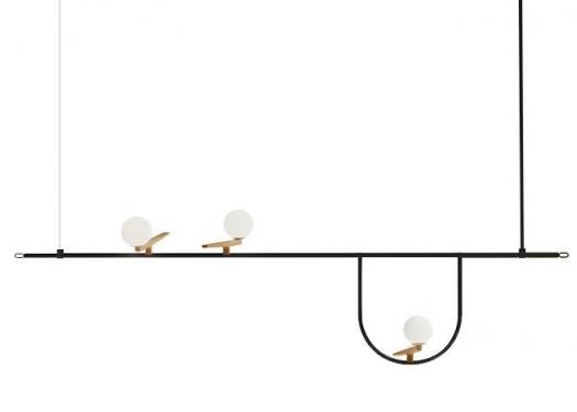 Lampa wisząca TWEETY 120 czarno-złota - metal, aluminium, szkło