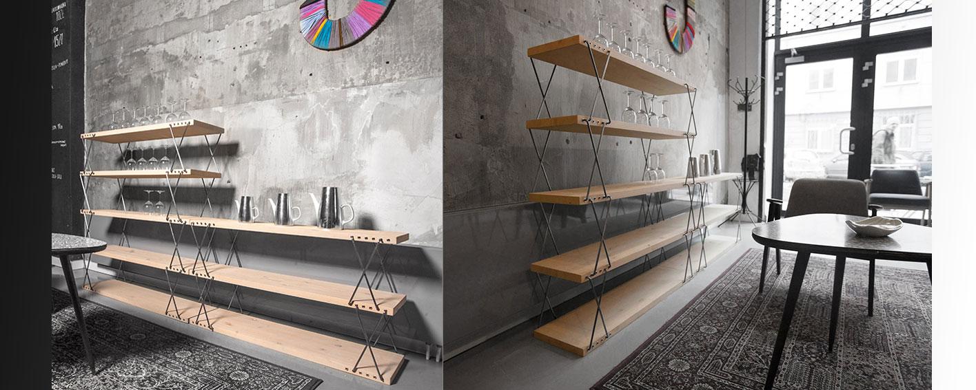 regał o zmiennych wysokościach ideal design hałas polski design